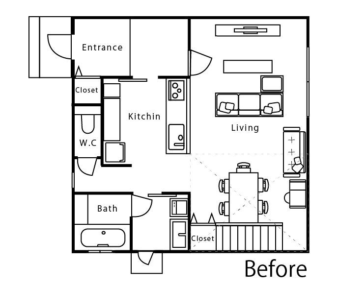 ゼロキューブ1階のベースの間取り